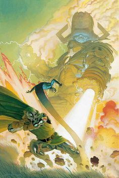 Marvel has revealed Esad Ribic's cover to February's Fantastic Four in which Doctor Doom takes on Galactus, and in a rare twist for modern Marvel Comic Book Artists, Comic Book Characters, Marvel Characters, Comic Artist, Comic Books Art, Dr Doom Marvel, Captain Marvel, Captain America, Fantastic Four Comics