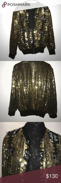 Vintage Gold and Black Sequin Bomber Amazing Sequin Bomber Jacket!!!!! 100% Silk lined. In Excellent Condition ( some sequins have fallen off over the years etc adds to the vintage vibe. ) has lots more life to live:) XOXO ( model pic is not actual jacket but there to show how to style the coat ) Vintage Jackets & Coats