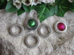 5 Metallperlen - Perlenrahmen Kreis, silberfarben, 1,95cm, Perlen basteln, Ring