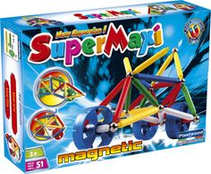 Supermaxi is the latest innovation on magnetic construction toys for children 3 years & up. With its new larger rods children can experience flexibility and simplicity of building, all in total safety its magnetic components are very easy to assemble, allowing children to free their imagination creating objects and structures of any size. it's funny and educational at the same time