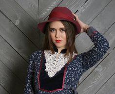 vintage 70s burgundy fedora hat