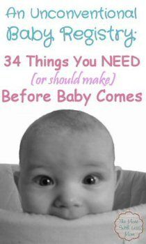 An Unconventional/Crunchy Registry: 34 Things You NEED (or should make) Before Baby Comes #baby #shower #registry #diy #homemade #green #natural  from TheMoreWithLessMom.com