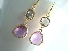 Lavendar with Gray Wedding Earrings - Bridesmaid Gift Wedding Jewelry  Bridal Jewelry Dangle, Drop, christmas earrings, christmas gift