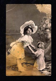 013806 Girl as Dolly Dancing w Big Doll Vintage Photo PC | eBay