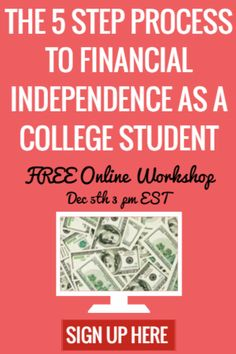 Never be broke again! The 5 key steps to financial independence as a student. In this webinar you'll learn not only how to make more money than ever as a college student with less effort, but how to stay balanced, track, stay on top of your bills, and more.  This online workshop isn't about pointing you in the right direction, it's about helping you figure it all out exactly so you never have to stress about money again. CLICK HERE TO SIGN UP NOW!