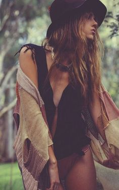 Bohemian modern hippie pieced sweater cover up. For the BEST BoHo CHic fashion trends FOLLOW -- http://www.pinterest.com/happygolicky/the-best-boho-chic-fashion-bohemian-jewelry-gypsy-/ now