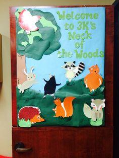New classroom, classroom design, classroom setting, forest theme classroom, Forest Theme Classroom, Classroom Door, Classroom Design, Classroom Themes, Classroom Setting, Preschool Bulletin Boards, Preschool Classroom, In Kindergarten, Preschool Activities