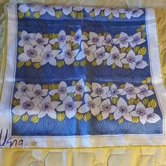Vera sash scarf Blue purple and yellow and white Vera scarf vera Accessories Scarves & Wraps