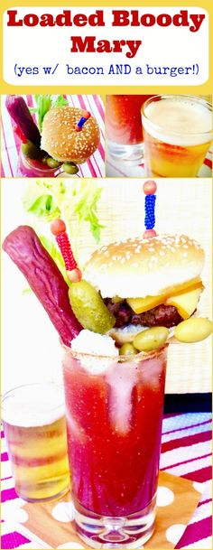 This Loaded Bloody Mary Cocktail is a full meal! Spicy Horseradish compliments the tangy tomato base and its topped with all the foods you want to eat when drinking a Bloody Mary, a burger, BACON, beef stick, olives, chunks of cheese and a Celery Stalk! Perfect for a brunch or watching a game!