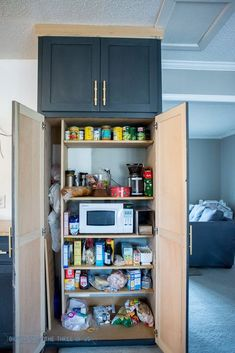 Skinny space in pantry to store tall, thin items (brooms...)