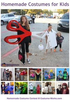 Homemade Costumes for Kids - Halloween costume contest like the scuba divers, box of popcorn, Legos, cowgirl/boys, piñata, ice cream cone, and a box of mc Donald's French fries