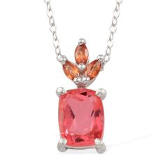 Look chic and smart with this papaya quartz pendant with a 20-inch chain. Embellished with vibrant orange sapphire, the piece is crafted in shimmering frame of sterling silver with platinum overlay and is an all occasion fashion accessory. Retail Value [$154.00] - Purchase price [$36.00]