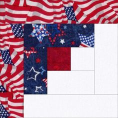 This patriotic quilt kit is easy to sew and has a lot of color; perfect for the beginner quilter. American waving flags, stars on dark blue, mottled red and a white. Make a nice blanket, throw, wall h