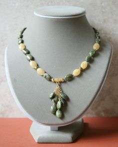 Green Breciated Jasper and Yellow Jade Cascading Necklace with FREE Matching Earrings