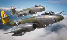 Gloster Meteor F MK 8 (Adam Tooby) Military Jets, Military Aircraft, Gloster Meteor, Reactor, Air Force Aircraft, Airplane Art, Ww2 Planes, Royal Air Force, Aviation Art