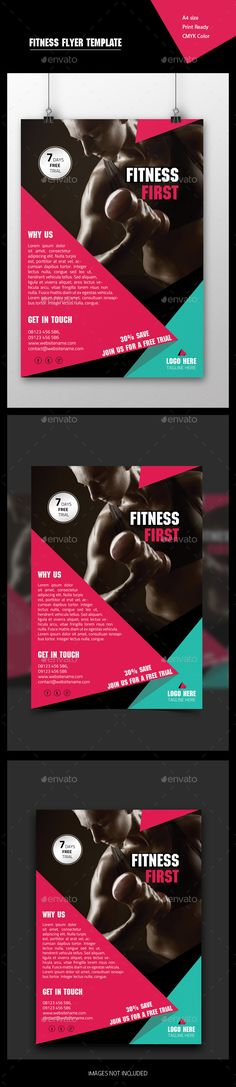 Soft Fitnessport Flyer Template Flyer template, Text fonts and Fonts