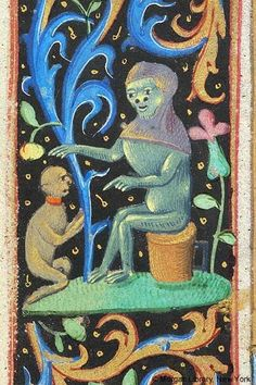 small monkey wearing collar kneeling with joined hands before monkey wearing hood, extending right paw, indicating Small monkey with left paw, sitting on upended cask with handle Medieval Life, Medieval Art, Medieval Manuscript, Illuminated Manuscript, Morgan Library, Ancient Art, Ancient History, Book Of Hours, Historical Art