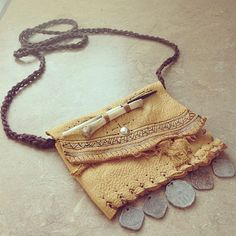 Hand sewn leather branded gypsy tribal coin by thegypsiescaravan, $70.00