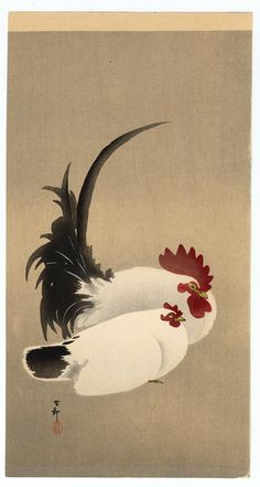 Shoson Ohara: Rooster and Hen - Japanese Art Open Database Artist: Shoson Ohara Title: Rooster and Hen Source: Japanese Art Open Database