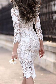 Encaje Elegante Femenina Recortable Durante Hip 3/4 vestido de color puro …