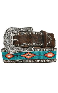Ariat Women& Brown Cowhide with Turquoise Aztec Beaded Center Western Belt Cowgirl Belts, Western Belts, Cowgirl Style, Western Wear, Western Belt Buckles, Gypsy Cowgirl, Cowgirl Bling, Western Style, Country Belts