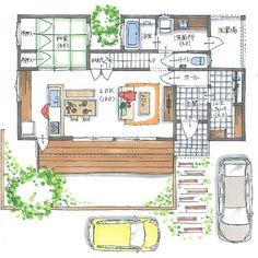 . 【ボツプラン463】 キッチン西側の窓からの西日で日焼けしそうですが、西側に家が建っていたら大丈夫です。 . 明るさや冬の暖かさを考えると2階の南側に窓が欲しいところですが、外観が変わってしまいますね。 お客様が承知してくれるなら、このままでもいいです。 .… One Story Homes, Small House Design, Story House, Small House Plans, House Layouts, Architect Design, Floor Plans, Flooring, How To Plan