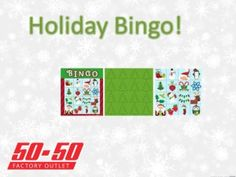 holiday bingo is a great idea for any christmas party this year! Check out our other great ideas and decorations at www.5050factoryoutlet.com  #christmas #craft #kidsactivity #party #holiday #fun #party #partystore #supplies #games #decorations #bingo #snowman #fun