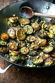 Sauteed Zucchini with Mint, Basil, and Pine Nuts by alexandracooks #glutenfree #zucchini