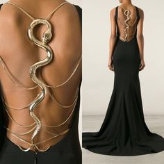 «I love it when fashion incorporates a design element that is jewellery like in its adornment. The 'Slytherin' dress by Roberto Cavalli dress is stunning,… Event Dresses, Ball Dresses, Harry Potter, Roberto Cavalli, Slytherin Clothes, Cavalli Dress, Over 50 Womens Fashion, Elegant Outfit, Pretty Dresses