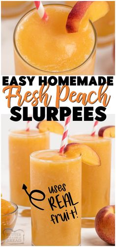 Homemade Peach Slurpees ~ only 3 ingredients & minutes to make! Combine fresh fruit, sugar (or substitute) and something to add some fizz & you've got your own Homemade Slurpees! #freshfruit #fruit #peaches #slurpee #homemade #dessert #summer #recipe from BUTTER WITH A SIDE OF BREAD Refreshing Drinks, Fun Drinks, Yummy Drinks, Healthy Drinks, Smoothie Drinks, Fruit Smoothies, Smoothie Recipes, Easy No Bake Desserts, Delicious Desserts