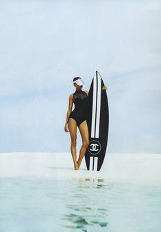 Chanel is going surf - VIRTUOSE PARIS - lingerie swimsuit & accessories creative maker Deco Surf, Surfing Photos, Harper's Bazaar, Chanel Couture, Surf City, Surf Style, Surf Girls, Surfs Up, Vintage Chanel