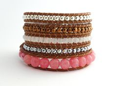 Pink Jade Boho Bracelet Cooper Hematite Wrap Bracelet for   Etsy