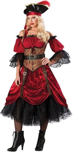 Swashbucklin Scarlet Pirate Lady Costume MC-IC1087 from Costume-Shop.com Halloween Costumes