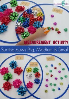 Fireworks Theme Maths Measurement activity - classifying bows by size big medium and small. Measurement Activities, Sorting Activities, Preschool Themes, Preschool Lessons, Winter Activities, In Kindergarten, Toddler Activities, Preschool Activities, Preschool Prep
