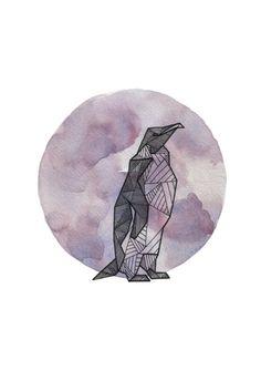 Pingvin - Dyr - Vandfarve - Grå/lilla - Støvet farve - Geometrisk - Streg - Tatovering - Inspiration