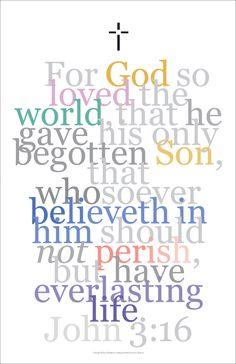 Biblical Poster 4, John: 3:16, For God So Loved...
