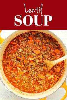 This Lentil Soup is packed with lentils, vegetables and Italia herbs. It's a healthy and vegetarian option rich in protein and flavor! Quick Soup Recipes, Chowder Recipes, Veggie Recipes, Cooking Recipes, Healthy Recipes, Veggie Food, Healthy Food, Homemade Lentil Soup, Fitness Models