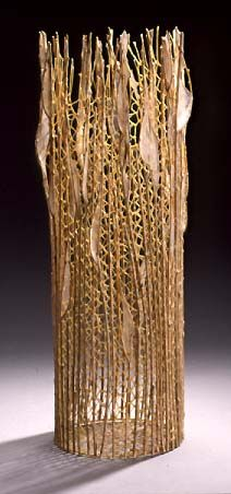 Take Flight, 2001; needle lace, hog gut,                                                          weeping willow; 26 inches high, 8.5                                                          inches in diameter.