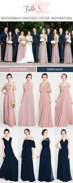 navy blue and dusty rose bridesmaid dress color inspiration for 2018 #bridesmaiddresses #dustyrose #bridesmaid #weddingtrends2018 #wedding #weddingcolors #navyblue