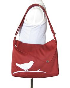 Red cotton canvas shoulder bag / bird messenger by Markfabric