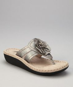 Take a look at this Pewter Rosette Carnation Thong Sandal by Cliffs by White Mountain on #zulily today! $24.99