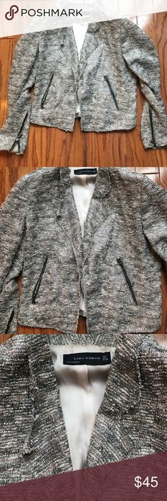 Zara Blazer with Silver Tweed Detail This blazer is beautiful in person!  It is lined inside with a beautiful pink taupe silky material. The pockets and cuffs have zippers. Zara Jackets & Coats Blazers