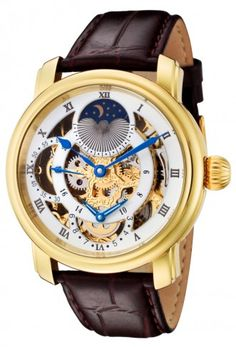 Rougois RG305G Gold Case Dual Time Zone with Moonphase Display Mechanical Skeleton Watch For Men