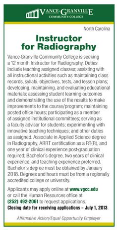 Instructor for Radiography job in North Carolina | NEWS-Line for Healthcare Professionals