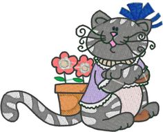 Curly Cat for 4x4 Hoop Machine Embroidery Designs by AAAHDESIGNS