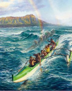 Hawaiian Outrigger Canoe Surfing : Panting By Leo Hone Aloha Hawaii, Hawaii Travel, Blue Hawaii, Tahiti, Hawaiian Art, Hawaiian Quotes, Hawaiian Legends, Polynesian Art, Polynesian Culture
