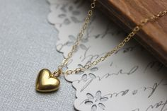Gold Heart Necklace - Puff Heart - Gold Heart Pendant - Valentine Heart Necklace -  Gold Filled Chain - 24 karat Gold Vermeil Heart.. $33.00, via Etsy.