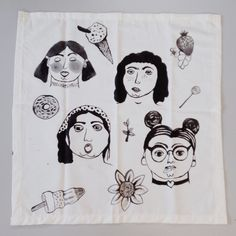Tea towel ~SAD GIRLS~  $12  |  www.maddiejoyceart.etsy.com