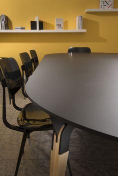 Kataba table @ Arpa Industriale headquarters in Bra. Made of FENIX NTM nero Ingo.