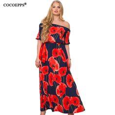 2018 Для женщин пикантные lotus печати 5XL 6XL Плюс Размеры длинное платье в пол большой Размеры с плеча Slash шеи Макси платья одежда